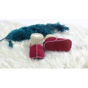 El Yapımı çoraplı %100 Deri bebek patik 6-18 ay kırmızı